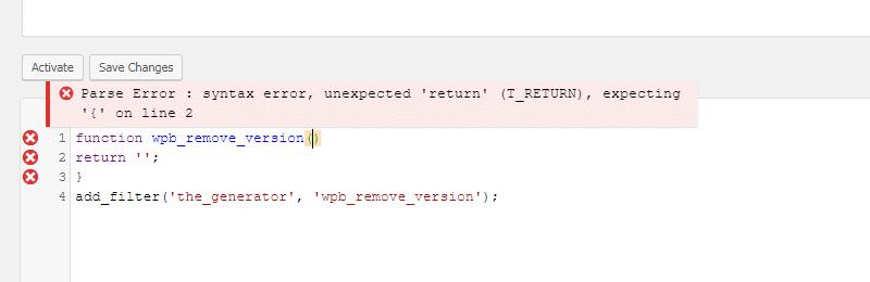 خطا در وارد کردن کدهای فانکشن وردپرس