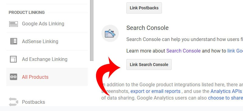 Link Search Console in Google Analytics