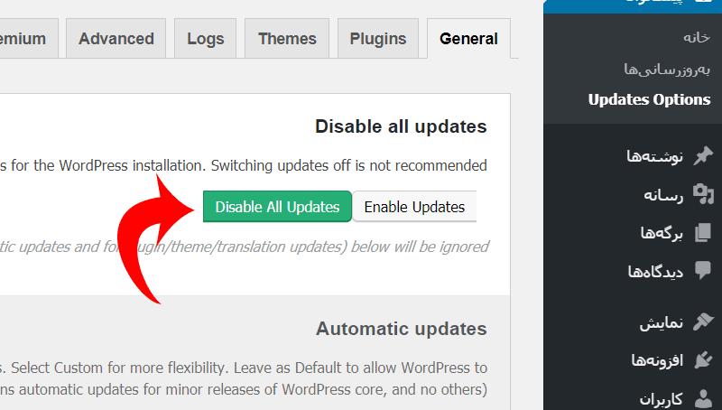 آموزش افزونه Easy Updates Manager برای غیرفعال کردن بروزرسانی اتوماتیک