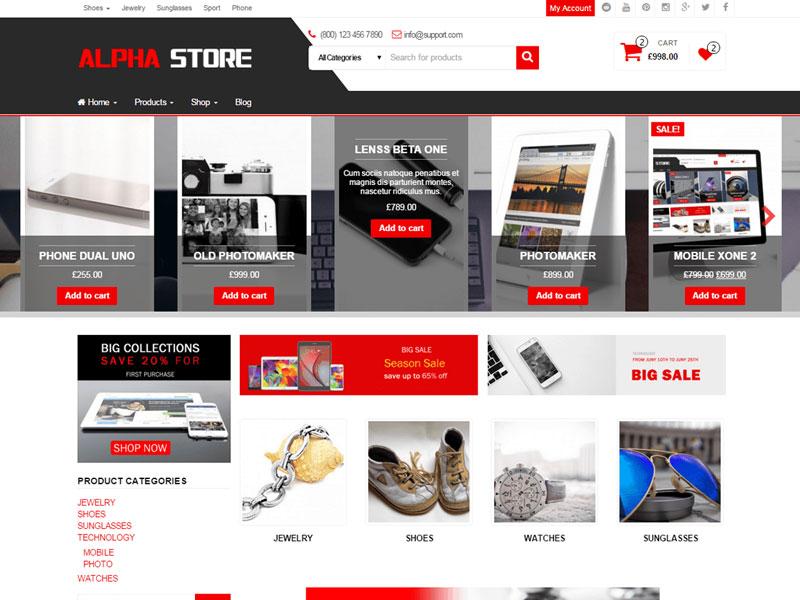 دانلود رایگان قالب فروشگاهی Alpha Store ووکامرس وردپرس