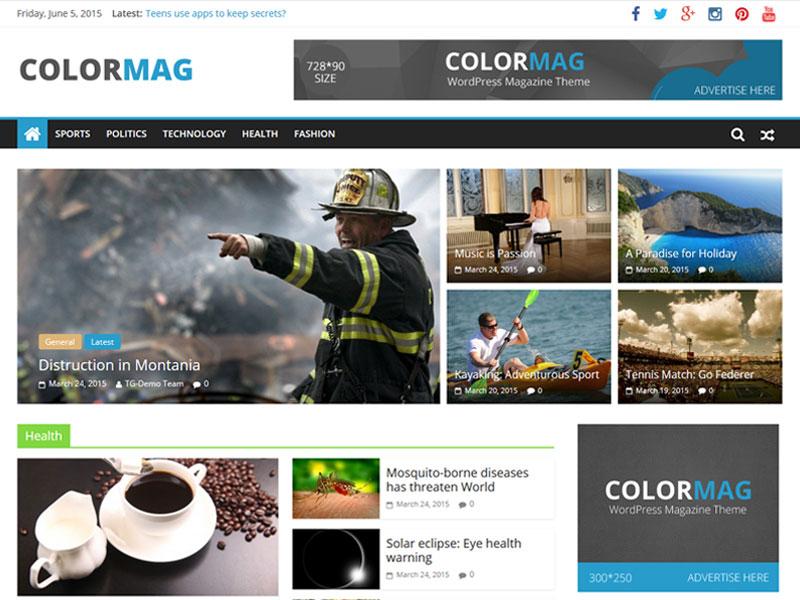 قالب رایگان مجله اینترنتی Colormag