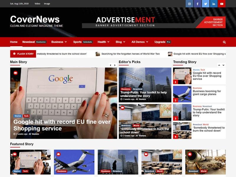دانلود قالب خبری رایگان CoverNews وردپرس