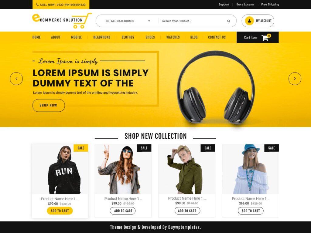 دانلود رایگان قالب فروشگاهی ووکامرس Ecommerce Solution
