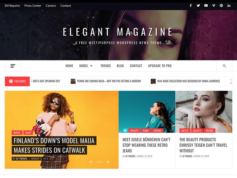 دانلود قالب خبری رایگان Elegant Magazine وردپرس