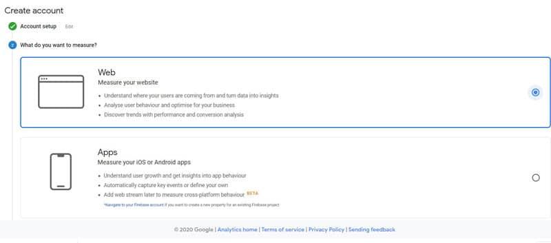 انتخاب نوع دستگاه در ثبت نام Google Analytics