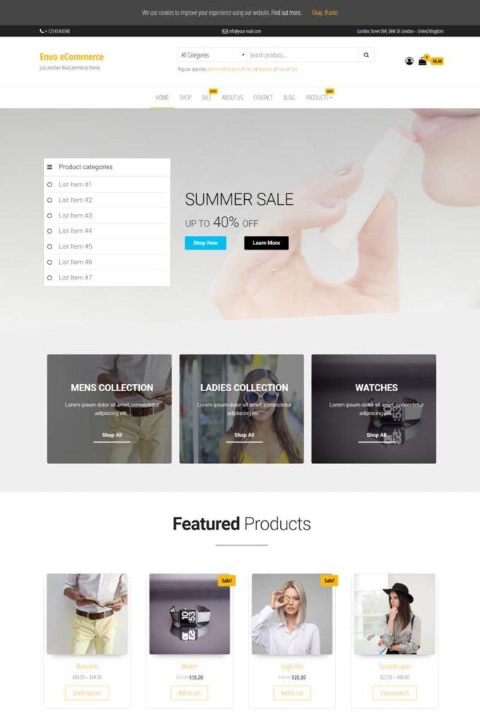 دانلود قالب فروشگاهی Envo eCommerce ووکامرس