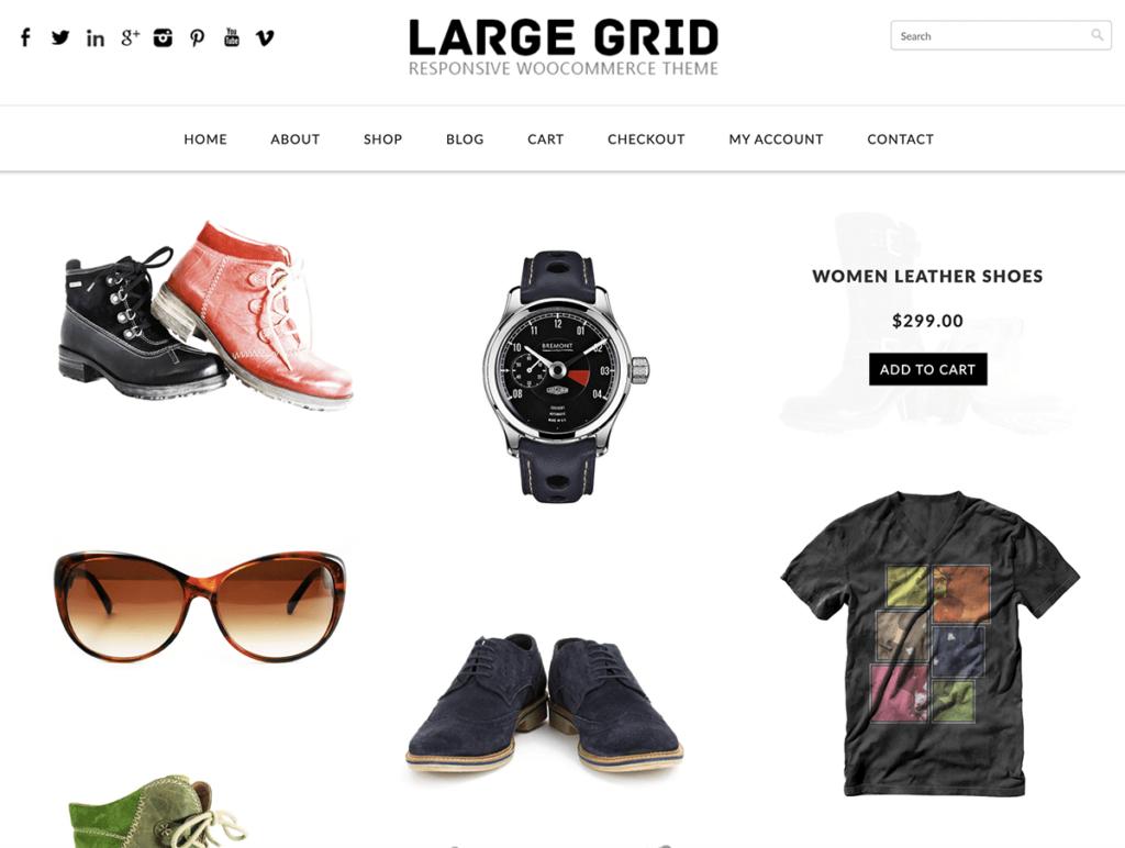 دانلود رایگان قالب فروشگاهی ووکامرس Large Grid