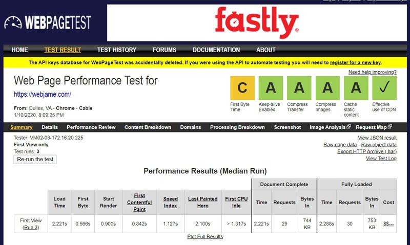 ابزار تست سرعت WebPageTest