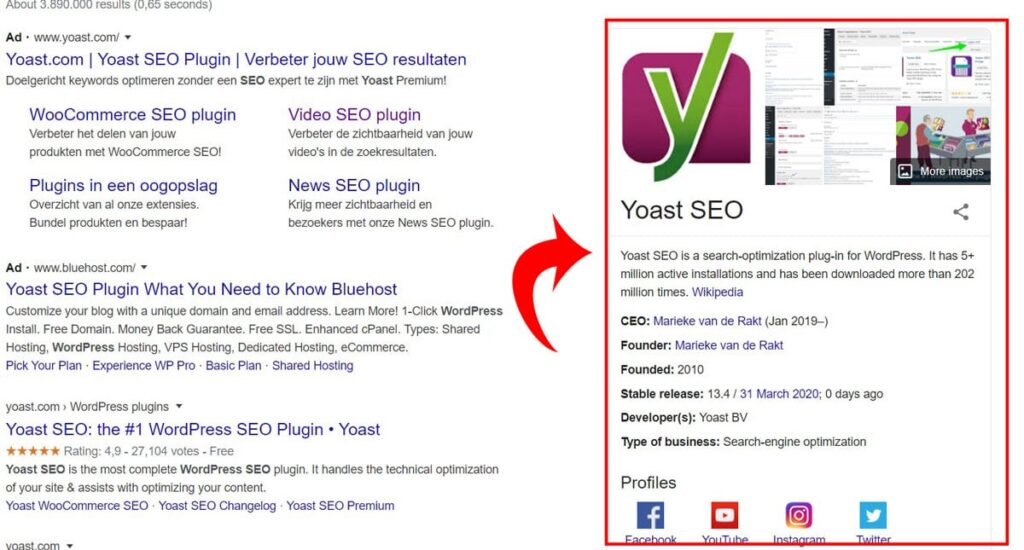 Knowledge Graph card in yoast seo