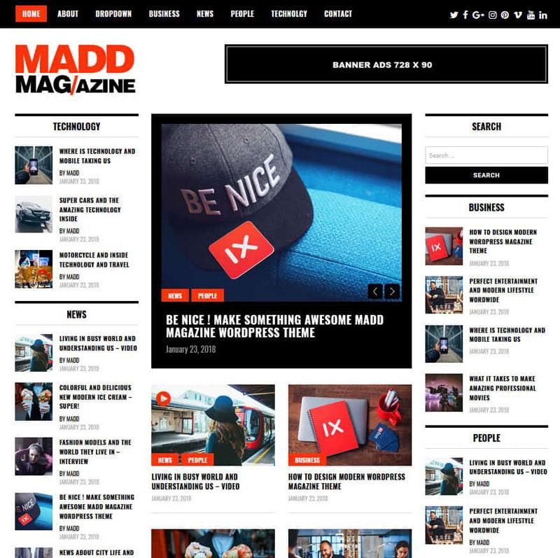 دانلود قالب خبری رایگان Madd Magazine