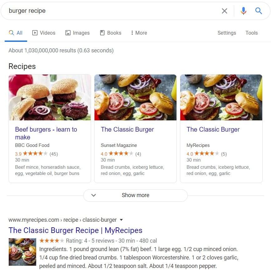 نمونه اسکیما دستور پخت در گوگل