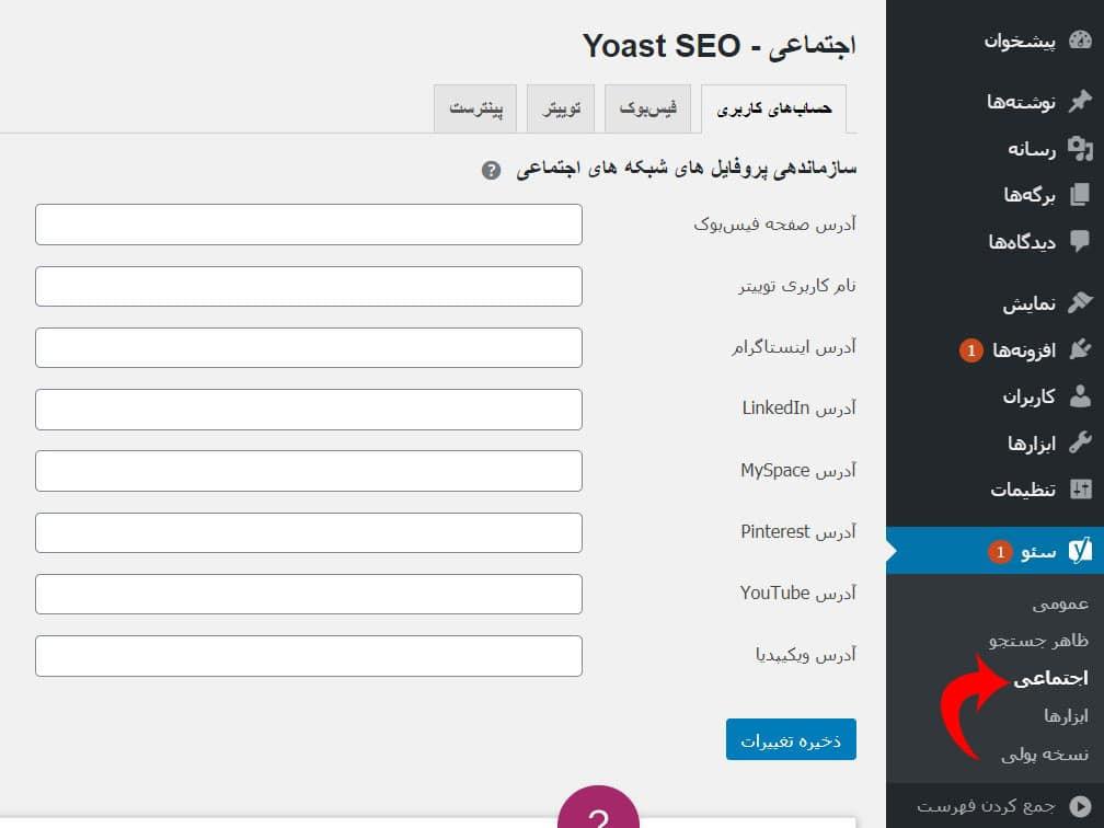 آموزش بخش اجتماعی افزونه Yoast Seo
