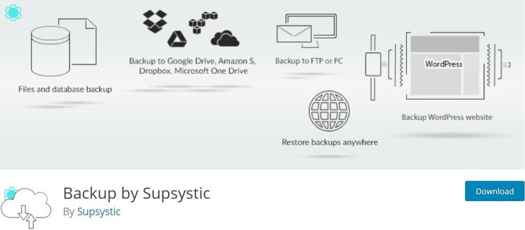 افزونه پشتیبان گیری وردپرس Backup by Supsystic
