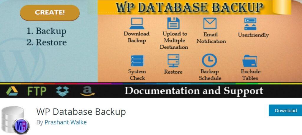 افزونه بکاپگیری از دیتابیس وردپرس با افزونه WP Database Backup