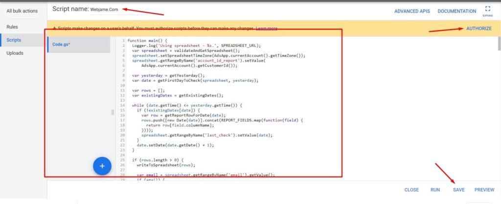 افزودن کدهای اسکریپت گوگل ادز