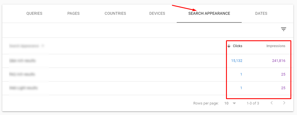search appearance
