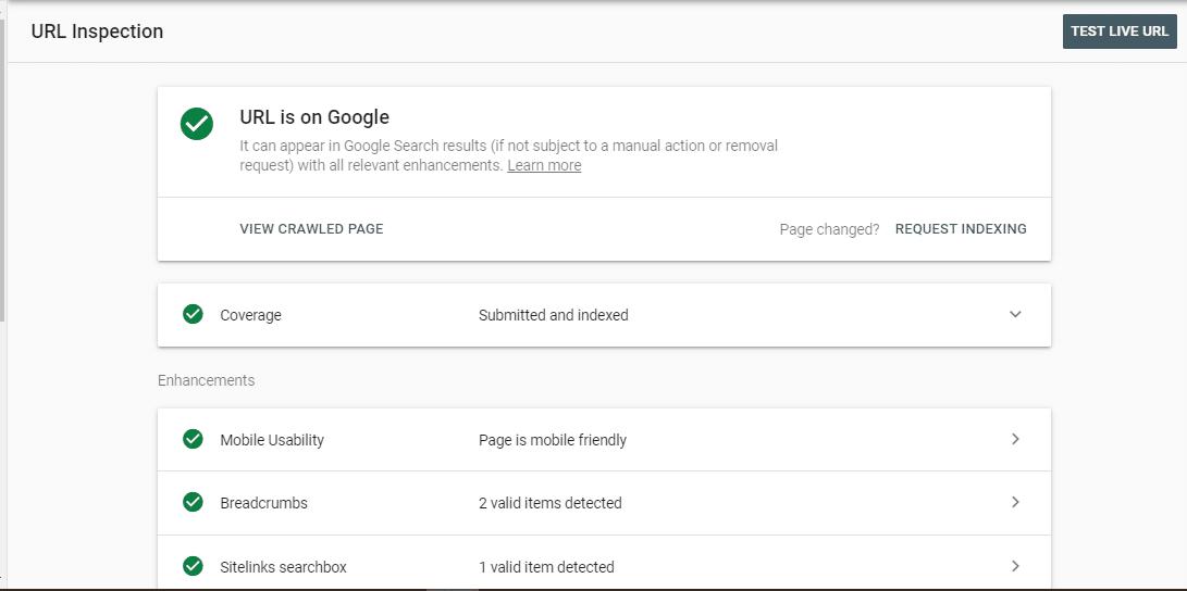 URL Inspection result
