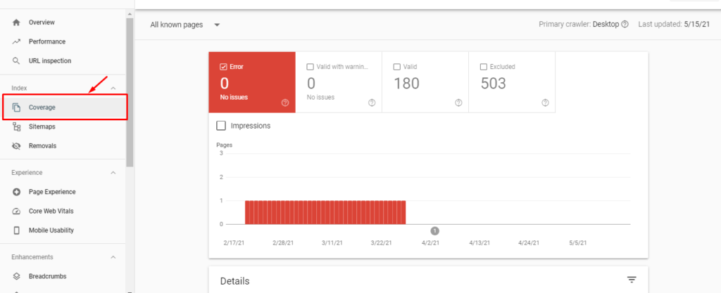 Google Search Console Coverage section