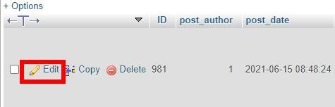 تغییر پست به پیج در phpmyadmin