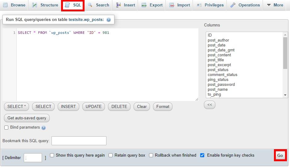 تغییر پست به برگه در phpmyadmin